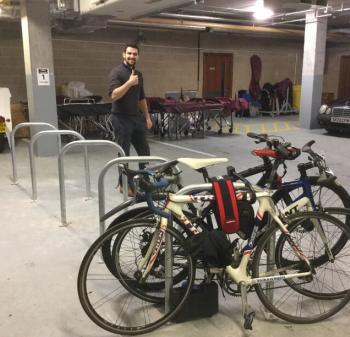 bikes are parked in an underground car park