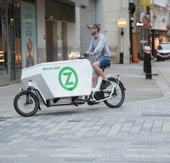 Zhero Cargo Bike in motion - Zero Emissions Network