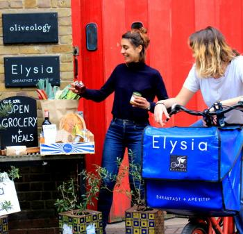 Founder with bike and organic food
